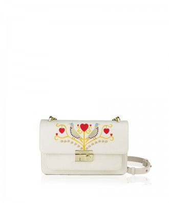 Pomikaki Giulietta Ricamo crossbody bag cream