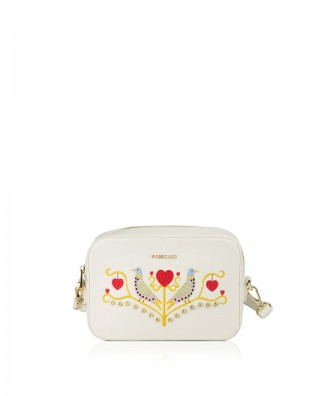 Pomikaki FEDERICA RICAMO crossbody bag Cream 22,5x17x6,5 cm