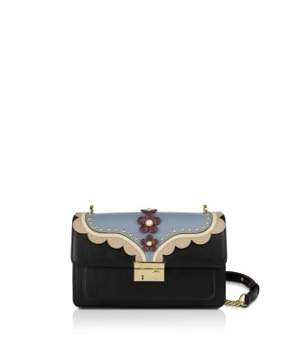 Pomikaki GIULIETTA FLOWERS crossbody bag Black 27,5x16x11 cm