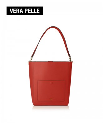 Pomikaki real leather bucket bag Venice red