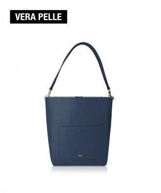 Pomikaki real leather bucket bag Venice blue