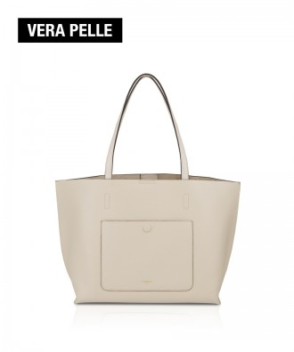 Pomikaki Real Leather Shopping Bag SYDNEY Cream 32x27x13 cm.