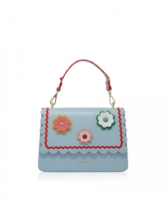 Pomikaki Gwen flowers handbag light blue