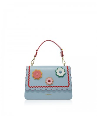 Pomikaki Sandy Flowers handbag light blue
