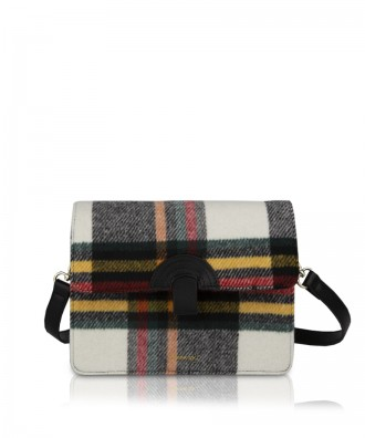 Pomikaki PLAID crossbosy bag Black/White 23x18x7 cm