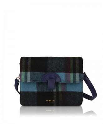 Pomikaki Plaid crossbody bag navy/blue