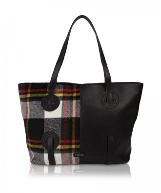 Pomikaki borsa shopper Reby plaid nero/bianco