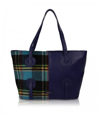 Pomikaki borsa shopper Reby plaid navy/blu