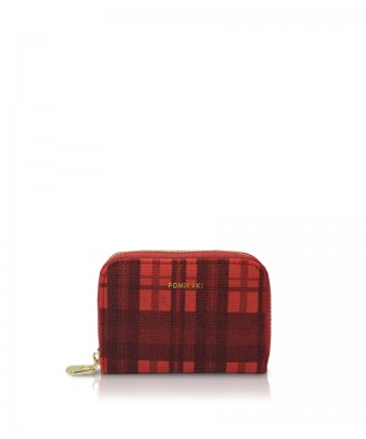Pomikaki Candy Tartan credit cards holder red