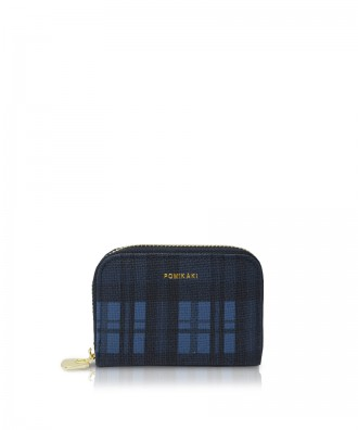 Pomikaki Candy Tartan credit cards holder blue