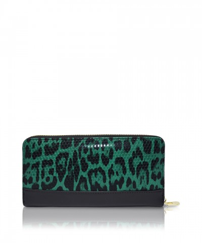 Pomikaki LOUISE ANIMALIER wallet Green 20x10x2,5 cm