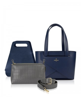 Pomikaki Origami small set Luxury blu navy e grigio scuro