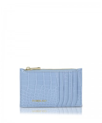 Credit cards holder light blue croco Vera