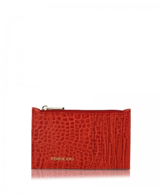 Credit cards holder red croco Vera