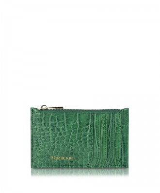 Credit cards holder green croco Vera