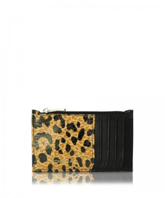 Credit cards holder black leopard Vera