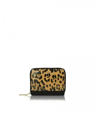 Small wallet black and brown leopard Alison