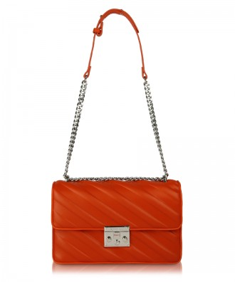 Coral red Giulietta Stripes crossbody bag