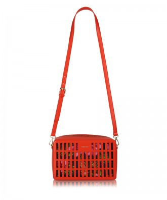 Coral red Kirigami crossbody bag