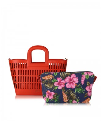 Coral red Kirigami handbag
