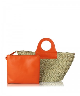 Orange/straw Ariel handbag