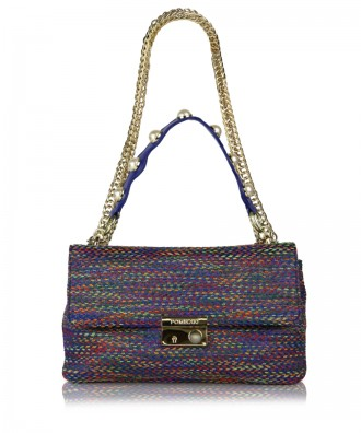 Multicolor-blue Giulietta Tweed crossbody bag