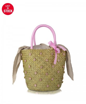 Straw/pink Loto bucket bag