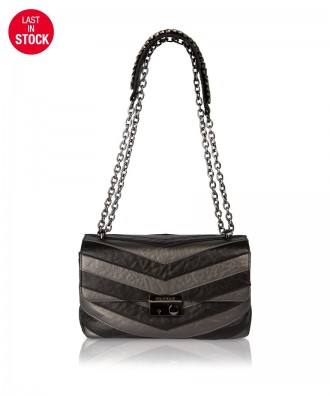 Pomikaki Giulietta Chevron crossbody bag black/grey